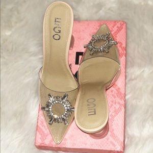 SOLD Clear slip on heels